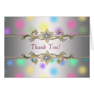 Pastel Dots Jewel Gold Thank You Cards