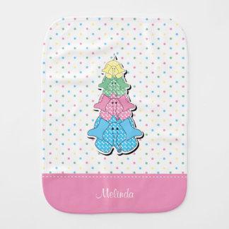 Pastel  Dots Pink Baby Elephant Burp Cloths