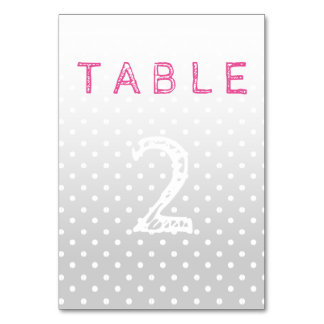 Pastel Dots Wedding Table Card with number