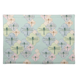 Pastel Dragonfly Pattern Blue Coastal Illustration Placemat
