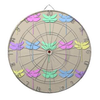 Pastel Dragonfly Pattern Dart Board