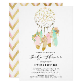 Pastel Dreamcatcher Faux Gold Foil Baby Shower Card
