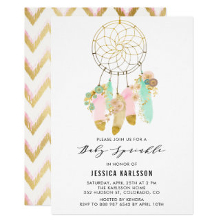 Pastel Dreamcatcher Faux Gold Foil Baby Sprinkle Card