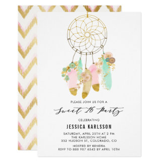 Pastel Dreamcatcher Faux Gold Foil Sweet 16 Party Card