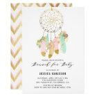 Pastel Dreamcatcher Gold Foil Baby Shower Brunch Card