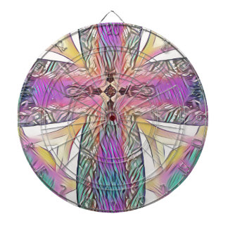 Pastel Easter Cross Artistic Stained Glass Pattern Dartboard