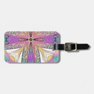 Pastel Easter Cross Artistic Stained Glass Pattern Luggage Tag
