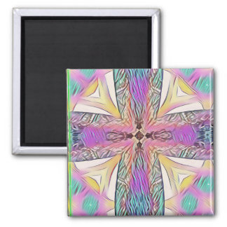 Pastel Easter Cross Artistic Stained Glass Pattern Magnet