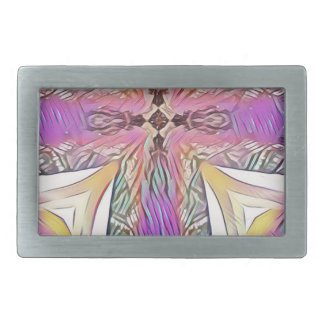 Pastel Easter Cross Artistic Stained Glass Pattern Rectangular Belt Buckle