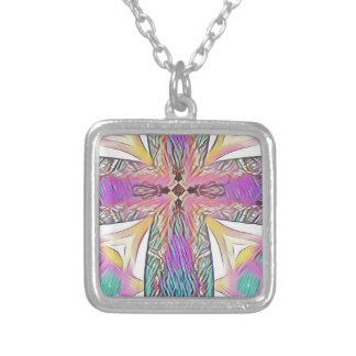 Pastel Easter Cross Artistic Stained Glass Pattern Silver Plated Necklace