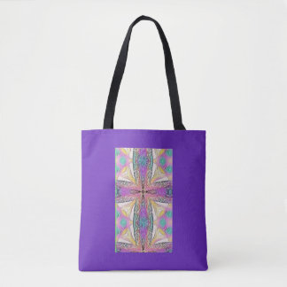 Pastel Easter Cross Artistic Stained Glass Pattern Tote Bag