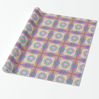 Pastel Easter Cross Artistic Stained Glass Pattern Wrapping Paper