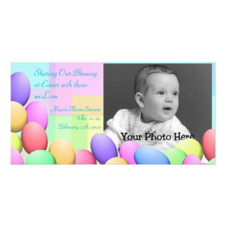Pastel Easter Eggs Baby Announcement Customized Photo Card