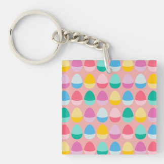 Pastel Easter Eggs Two-Toned Multi on Blush Pink Double-Sided Square Acrylic Keychain