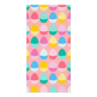 Pastel Easter Eggs Two-Toned Multi on Blush Pink Photo Greeting Card