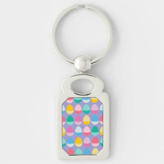 Pastel Easter Eggs Two-Toned Multi on Lilac Silver-Colored Rectangle Keychain
