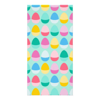 Pastel Easter Eggs Two-Toned Multi on Mint Personalized Photo Card