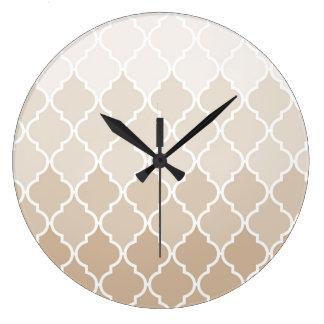 Pastel elegant brown cream quatrefoil pattern large clock