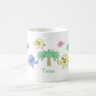 Pastel Elephants and Palm Tree Mug