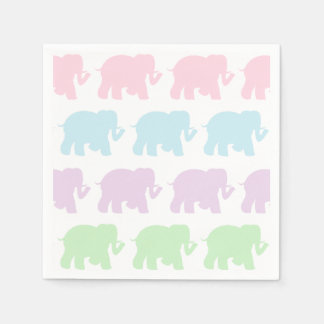 Pastel elephants cocktail napkins paper napkins