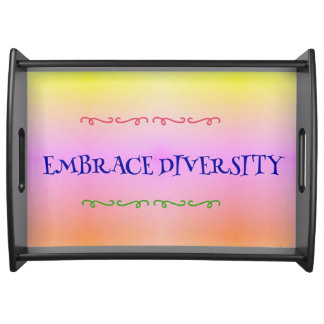 Pastel Embrace Diversity Inclusion Support Serving Tray