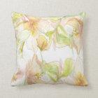 Pastel Fantasy Watercolor Floral Throw Pillow