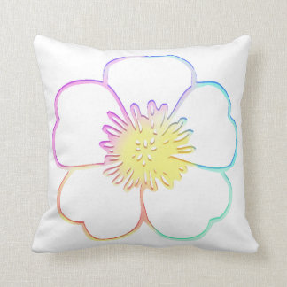 Pastel Faux Watercolor Painterly Flower Throw Pillow