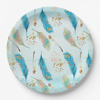 Pastel Feathers Pink Teal Blue Gold Paper Plate