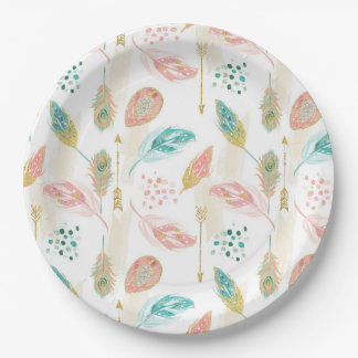 Pastel Feathers Pink Teal Gold Arrows Paper Plate