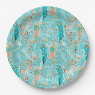 Pastel Feathers Pink Teal Gold Paper Plate