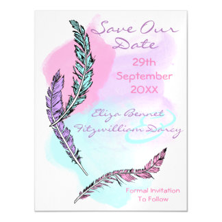 Pastel Feathers Save the Date Magnet