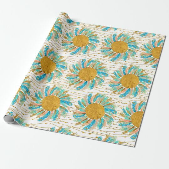 Pastel Feathers Tribal Chic Flower Gift Wrap Paper