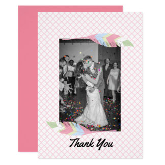 Pastel Feathers Wedding Thank You Card