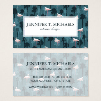 Pastel Flamingos On Teal | Monogram Business Card