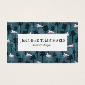 Pastel Flamingos On Teal | Monogram Business Card