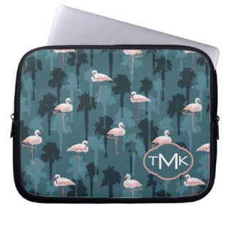 Pastel Flamingos On Teal   Monogram Computer Sleeve