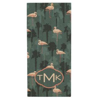 Pastel Flamingos On Teal | Monogram Wood USB 2.0 Flash Drive