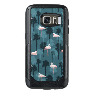 Pastel Flamingos On Teal OtterBox Samsung Galaxy S7 Case