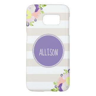 Pastel Floral Beige Striped Purple Monogram Name Samsung Galaxy S7 Case