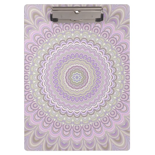 Pastel floral circle mandala clipboard
