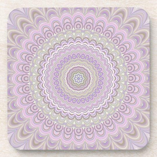 Pastel floral circle mandala coaster