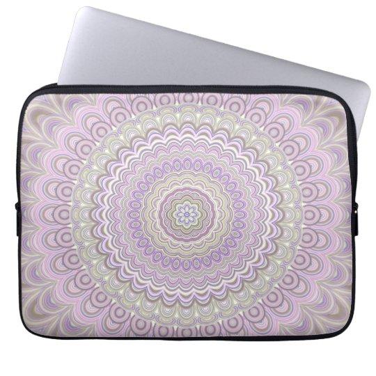 Pastel floral circle mandala laptop sleeve