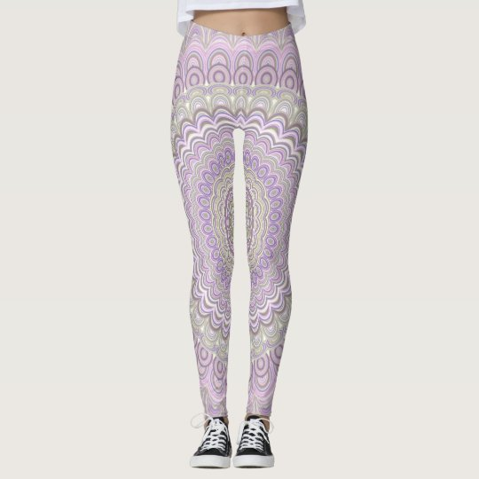 Pastel floral circle mandala leggings