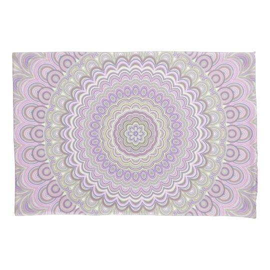 Pastel floral circle mandala pillowcase