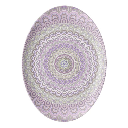 Pastel floral circle mandala porcelain serving platter