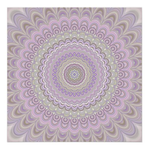 Pastel floral circle mandala poster