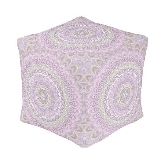 Pastel floral circle mandala pouf