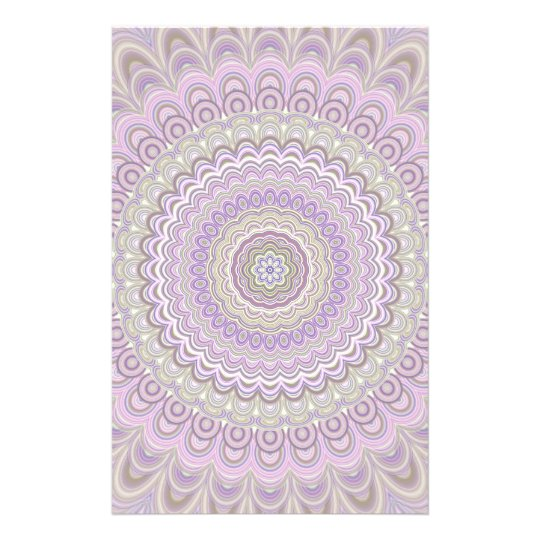 Pastel floral circle mandala stationery