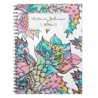 Pastel floral hand drawn watercolor pattern spiral notebook