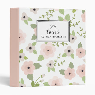 Pastel Floral Pattern Personalized Binder